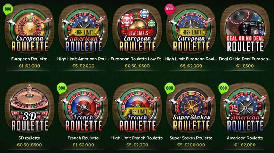 888 Casino Roulette Games