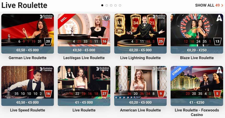 Leo Vegas Live Roulette