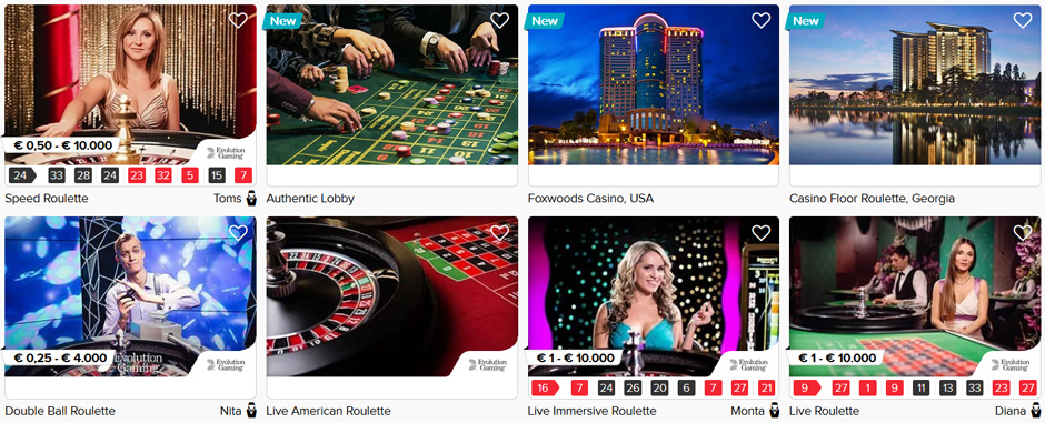 CasinoEuro Live Roulette Selection